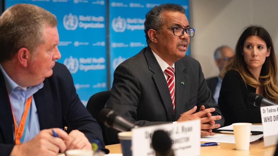 Tedros Adhanom, szef Światowej Organizacji Zdrowia w czasie konferencji prasowej